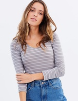 All About Eve Clash LS V-Neck Tee