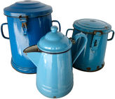 One Kings Lane Vintage French Enamelware Canisters, S/3