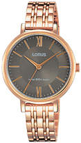 Lorus RG270MX9 Women's Bracelet Strap Watch, Rose Gold/Grey
