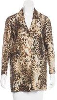 Maje Cheetah Print Linen-Blend Jacket
