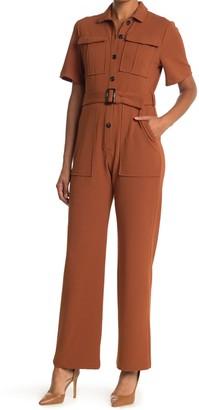 Donna Morgan Short Sleeve Straight Leg Utility Jumpsuit