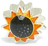 Olympia Yellow Enameled Sunflower Metal Charm - Compatible & Fits Major Brand Name Brand Bracelets
