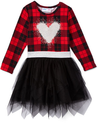 Freestyle Revolution Girls' Casual Dresses - Red & Black Plaid Heart Tutu Skirt Long-Sleeve Dress - Girls