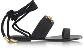 Versace Black Leather Ankle Wrap Sandals
