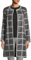 Escada Grid-Pattern Snap-Front Lamb Leather Topper Coat