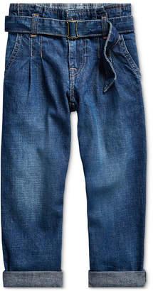 Polo Ralph Lauren Little Girls Cotton Denim Paperbag Jeans