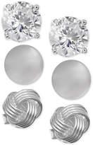 Giani Bernini 3-Pc. Set Stud Earrings in Sterling Silver, Created for Macy's