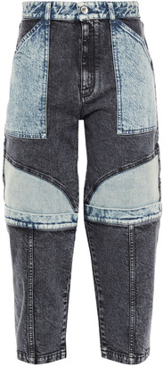 Stella McCartney Cropped Paneled Two-tone High-rise Tapered Jeans