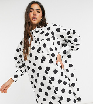 NATIVE YOUTH shirt midi dress in oversized polka dot