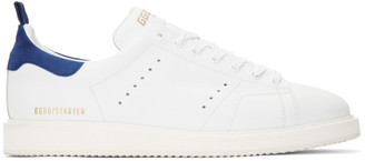 Golden Goose White and Blue Starter Sneakers