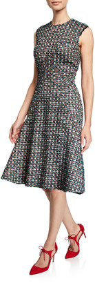 Zac Posen Metallic Tweed Sleeveless Dress