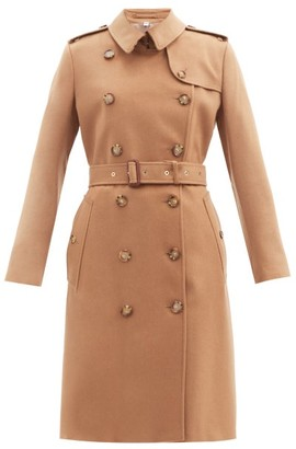 Burberry Kensington Pressed-cashmere Trench Coat - Bronze
