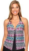 Women's Aqua Couture Bust Enhancer Geometric Flyaway Tankini Top