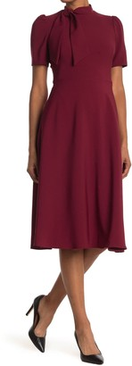 Maggy London Bow Neck Fit & Flare Dress