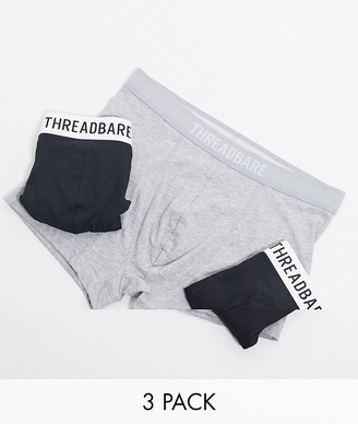 Threadbare 3 pack jersey boxers with contrast branded waistband