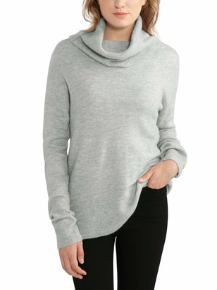 Woolen Bloom Women's Cowl Neck Jumper Knitted Casual Long Sleeve Turtleneck Sweater Pullover Tops for Women Grey
