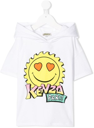 Kenzo Kids printed hooded T-shirt