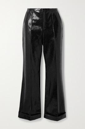 Philosophy di Lorenzo Serafini Snake-effect Faux Leather Straight-leg Pants - Black