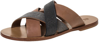 Brunello Cucinelli Brown Beaded Leather Crossover Sandals Size 39