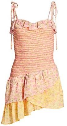 LoveShackFancy Aya Smocked Mini Dress