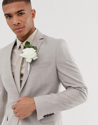 Selected skinny suit jacket in sand