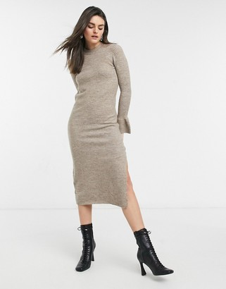 ASOS DESIGN knit dress with bell sleeve detail in taupe
