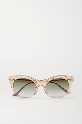 The Row Oliver Peoples Georgica Round-frame Acetate And Silver-tone Sunglasses - Clear