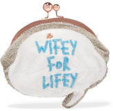 Sophia Webster Wifey For Lifey Beaded Cotton Clutch - White