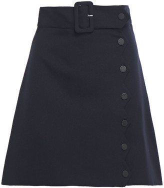 Sandro Laurene Belted Snap-detailed Grain De Poudre Mini Skirt