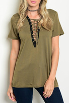 LoveRiche Evelyn Olive Lace Up Top