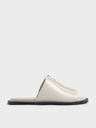 Charles & Keith Wrinkled Patent Frayed Zip Front Slide Sandals