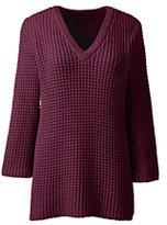 Classic Women's Lofty 3/4 Sleeve V-neck Sweater-Radiant Navy Marl