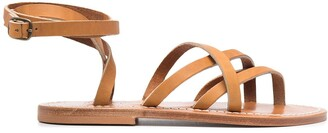 K. Jacques Crossover Strap Leather Sandals