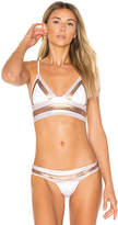 Beach Bunny Tequila Sunrise Long Line Bralette Bikini Top in White. - size M (also in S,XS)