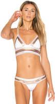 Beach Bunny Tequila Sunrise Long Line Bralette Bikini Top in White. - size M (also in S)