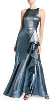 Shoshanna Caroline Metallic Sleeveless Gown with Asymmetric Ruffle Detail