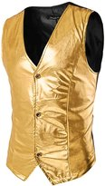 uxcell® Men Contrast Color Metallic Panel Button Closure Slim Fit Vest S