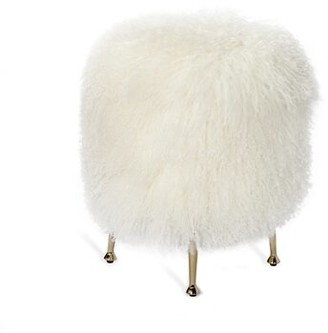 Interlude Metal Accent Stool Color: Ivory