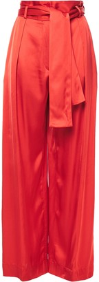 Nina Ricci Belted Pleated Satin Wide-leg Pants