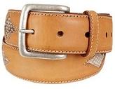 Manieri Snake Stamped Inserts Caramel Italian Leather Belt