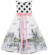 Love made Love Black and White Polkadot 3D Paris Print Tulle Dress