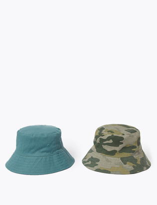 Marks and Spencer Kids' 2 Pack Pure Cotton Camo Sun Hats (6-14 Yrs)