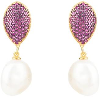 Latelita Baroque Pearl Classic Drop Earrings Rosegold Hot Pink Cz