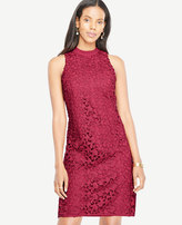 Ann Taylor Floral Lace Mock Neck Dress