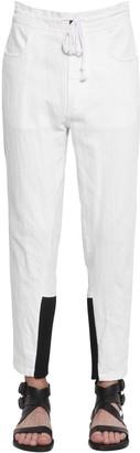 Ann Demeulemeester Slim Cotton & Linen Pants W/ Knit Cuffs