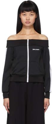 Palm Angels Black Off-The-Shoulder Track Jacket