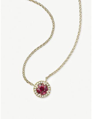 Vashi Halo 18k yellow-gold, 0.70ct ruby and diamond necklace
