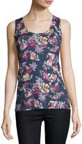 Neiman Marcus Superfine Floral-Print Cashmere Tank