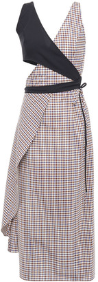 Rosie Assoulin Cutout Gingham Wool-blend Midi Dress