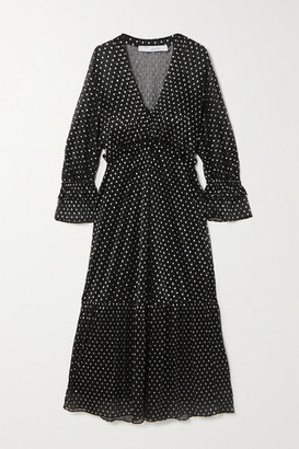 IRO Mawson Ruffled Polka-dot Fil Coupe Chiffon Midi Dress - Black